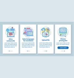 translation service onboarding mobile app page vector image