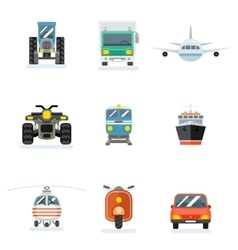 transports flat icons Car and aircraft vector image