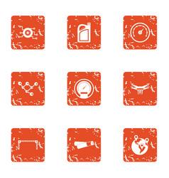 travel speed icons set grunge style vector image