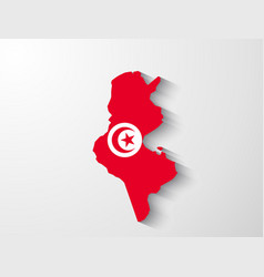 Tunisia map with shadow effect vector image