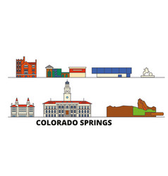 United states colorado springs flat landmarks vector