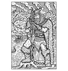 Viking or sea king engraved fantasy vector