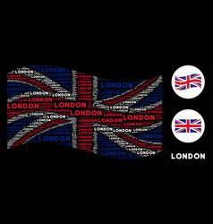 waving uk flag pattern of london text items vector image