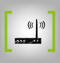 Wifi modem sign black scribble icon in vector