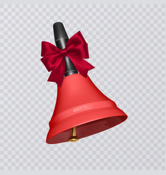 with realistic school bell red vector image