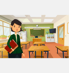 Woman teacher at college or school classroom vector