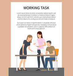 Working task poster and team vector