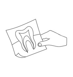 X-ray of the tooth in the hand of the dentist vector