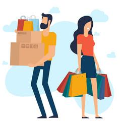 yong man and woman at shopping vector image