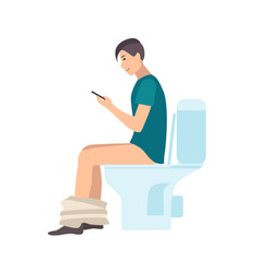 young man sitting on toilet holding smartphone vector image
