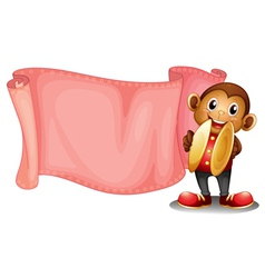 A pink empty banner with a monkey vector image