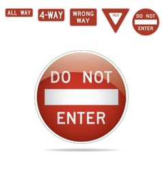 do not enter traffic signs vector image
