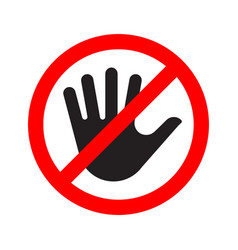 no entry sign icon with a crossed-out hand vector image vector image