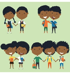 Best friends african american school kids vector image
