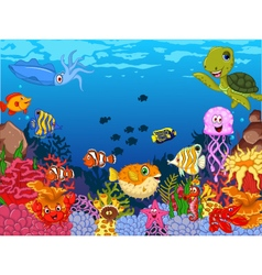 funny sea animals cartoon set with sea life vector image vector image