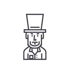 President usaabraham lincoln line icon vector