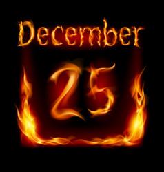 twenty-fifth december in calendar of fire icon on vector image