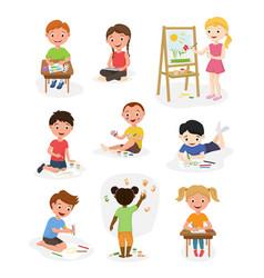 artist cute kids paint art child creative vector image