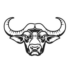 buffalo head icon on white background vector image vector image