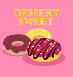 dessert sweet three donut background image vector image