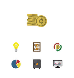 Flat icon finance set of chart cash bubl and vector