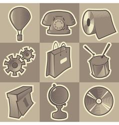 Monochrome miscellaneous icons vector image