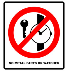 no metallic articles or watches no access for vector image vector image