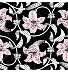 Seamless pattern with lilies on black background vector image vector image