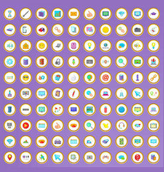 100 computer icons set in cartoon style vector image vector image
