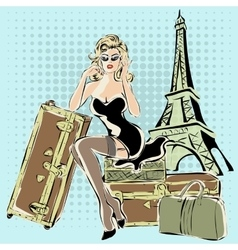 Beautiful pin-up woman sitting on suitcases near vector image vector image