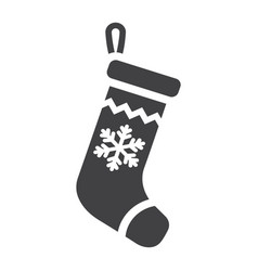 christmas stocking glyph icon new year vector image vector image