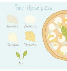 Four cheese pizza ingredients vector image