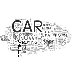what you should never do when you buy a car text vector image vector image