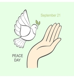 White dove with an olive branch and the human hand vector image