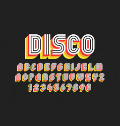 80s retro font disco style alphabet and numbers vector
