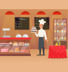 an interior of bakery with man vector image