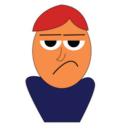 angry cartoon boy in blue shirt on white vector image