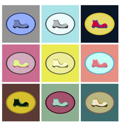 Assembly flat icons shoe vector