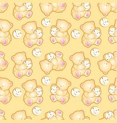 baby bear yellow pattern vector image