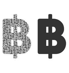 Baht mosaic of binary digits vector
