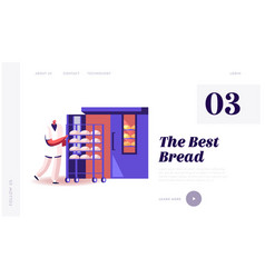 bakehouse factory website landing page worker in vector image