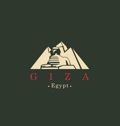 Banner with egyptian pyramids with sphinx in giza vector