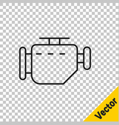 black line check engine icon isolated on vector image