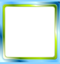 Blue and green bright frame on white background vector image