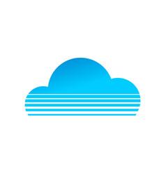 blue cloud shape striped lines symbol design vector image