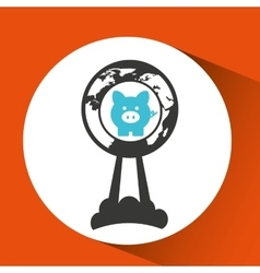 Business global start up piggy icon vector