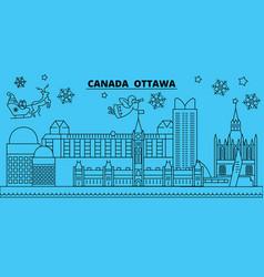 canada ottawa winter holidays skyline merry vector image