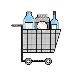 Cart shopping supermarket bottle glass drink vector