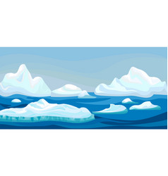 Cartoon arctic iceberg with blue sea winter vector