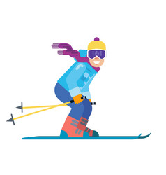 cartoon skier isolated skiing sportsman character vector image